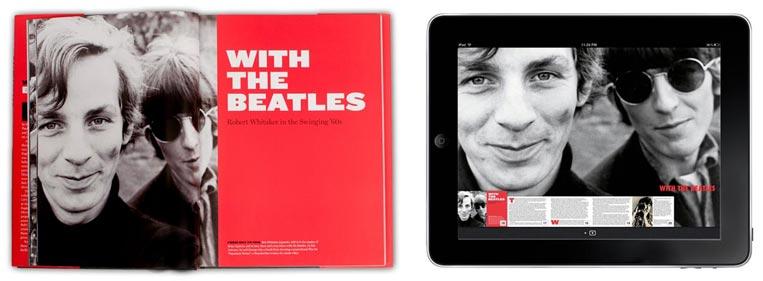 Image of printed Beatles book and eBook